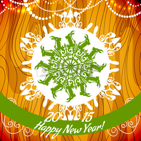 31592627-background-with-snowflake-with-goat-symbol-of-2015-new-year