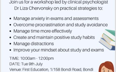 Stress management and study skills workshop, for Yr 11 & 12