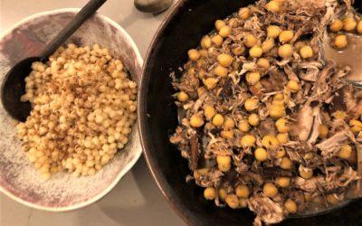 Moghrabieh (Lebanese couscous stew)
