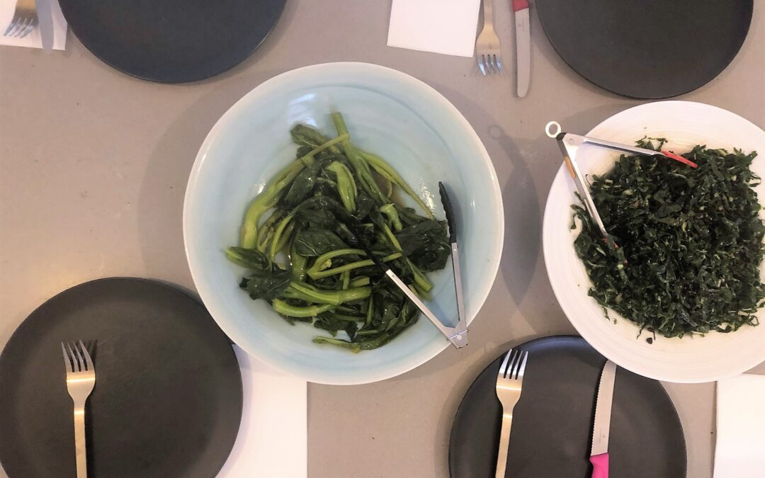 Steamed Gai Larn with Silverbeet Salad